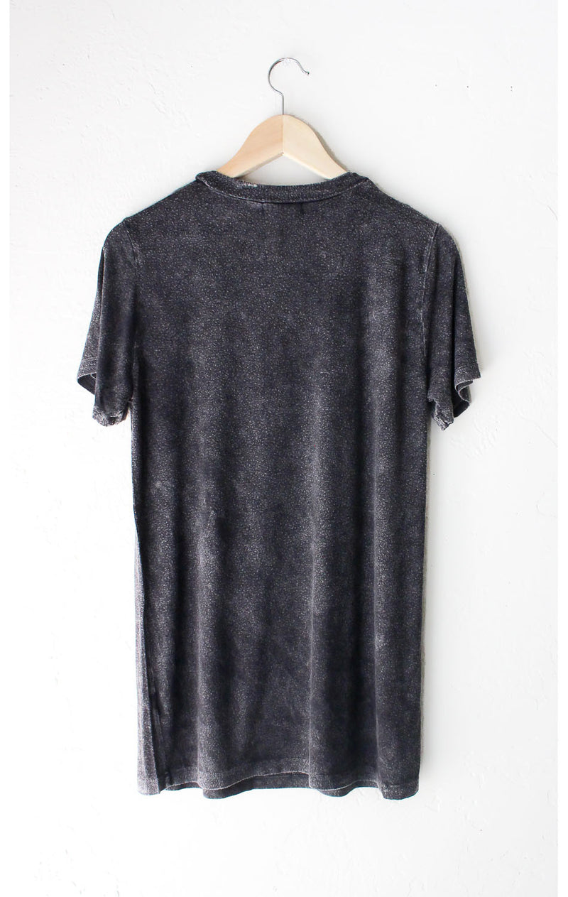 Deep V-neck Cutout Acid Wash Shirt