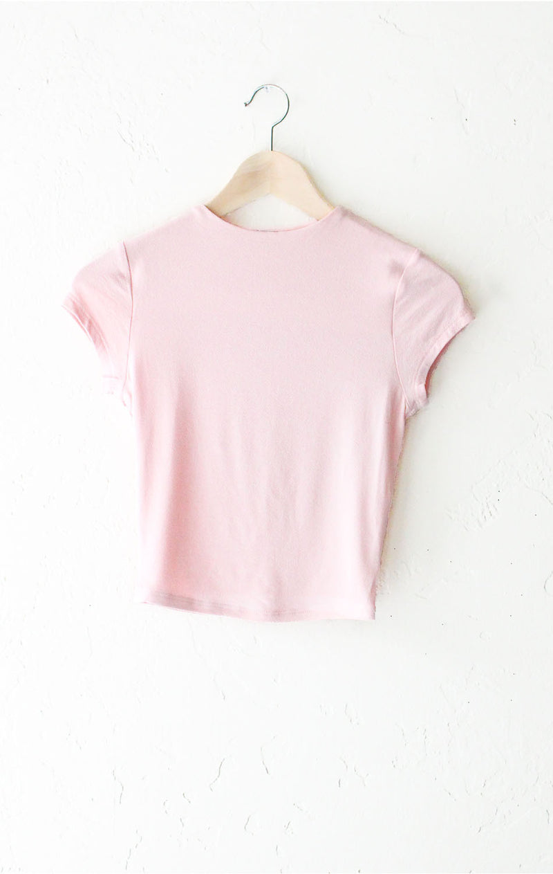 High Neck Crop Top - Dusty Pink