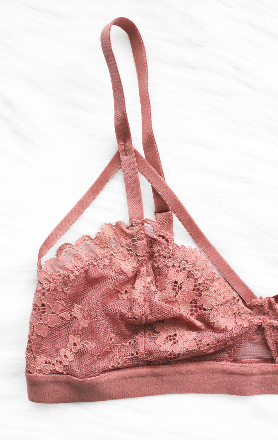 NYCT Clothing Caged Lace Bralette - Dusty Rose