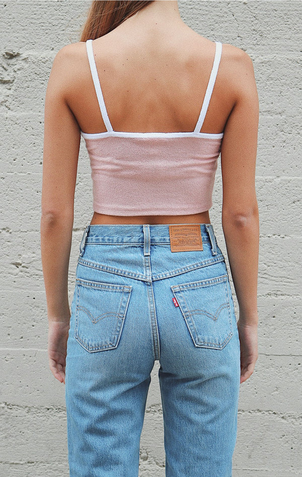 NYCT Clothing French Terry Crop Cami - Dusty Rose