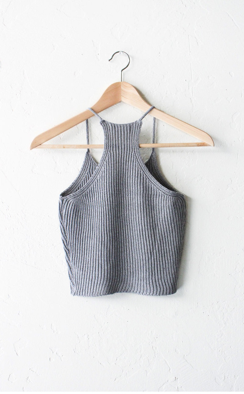 Knit Crop Top - Grey