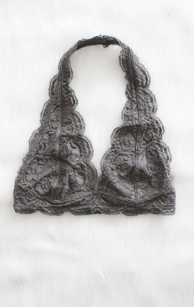NYCT Clothing Lace Halter Bralette - Grey