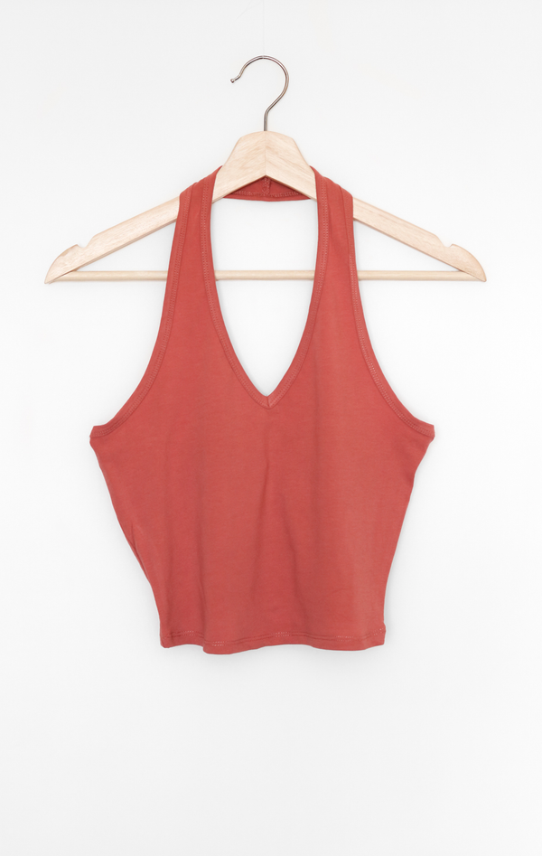 NYCT Clothing Halter V-neck Crop Top