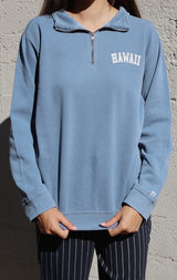 NYCT Clothing Hawaii Half Zip Sweatshirt - Dusty Blue