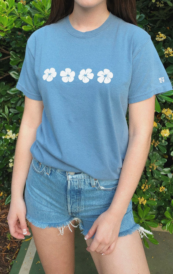 NYCT Clothing Hawaiian Hibiscus T-shirt - Dusty Blue