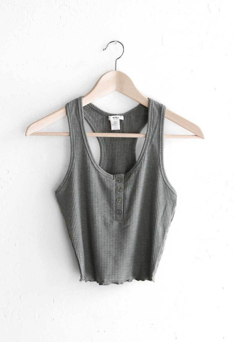 NYCT Clothing Henley Crop Top - Olive