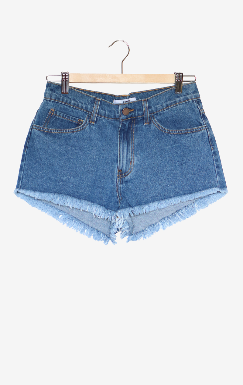 NYCT Clothing High Rise Denim Shorts - Medium Wash