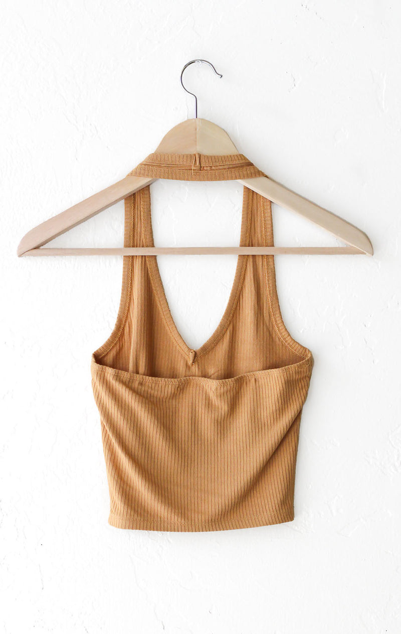 NYCT Clothing Halter Crop Top - Honey Mustard