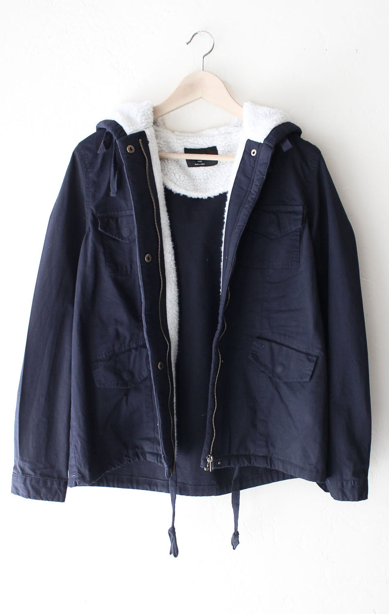 NYCT Clothing Faux Fur-Lined Hooded Jacket - Navy