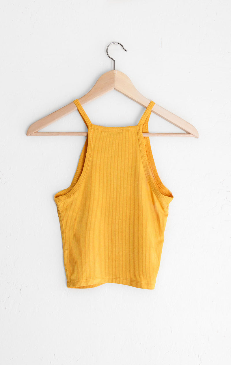 NYCT Clothing Ribbed Knit Halter Crop Top