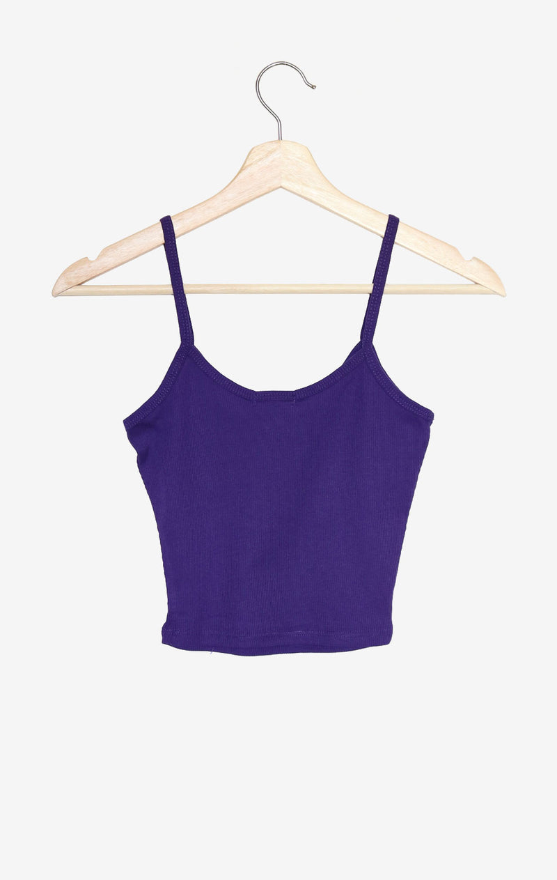 NYCT Clothing Knit V-neck Cami Crop Top - Purple