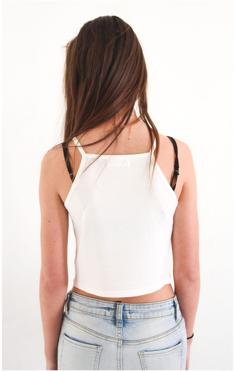 White Knit Cami Crop Top