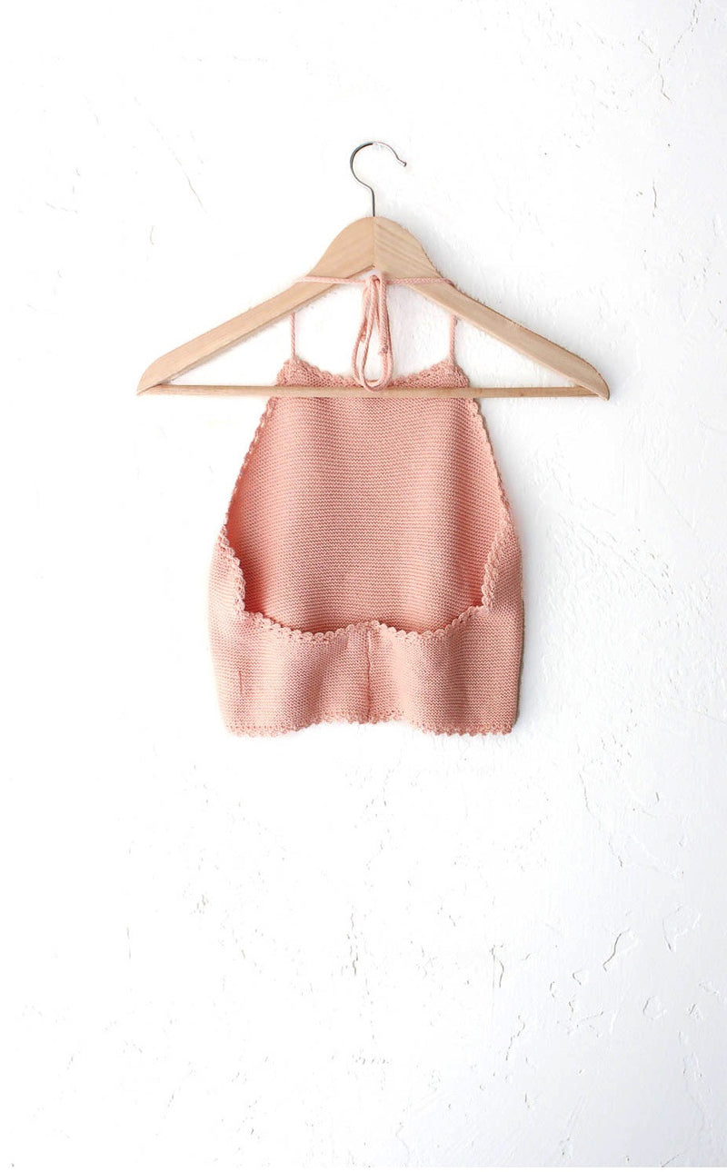 Knit Sweater Halter Crop Top - Peach