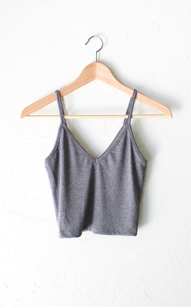 Knit V-neck Cami Crop Top - Heather Grey