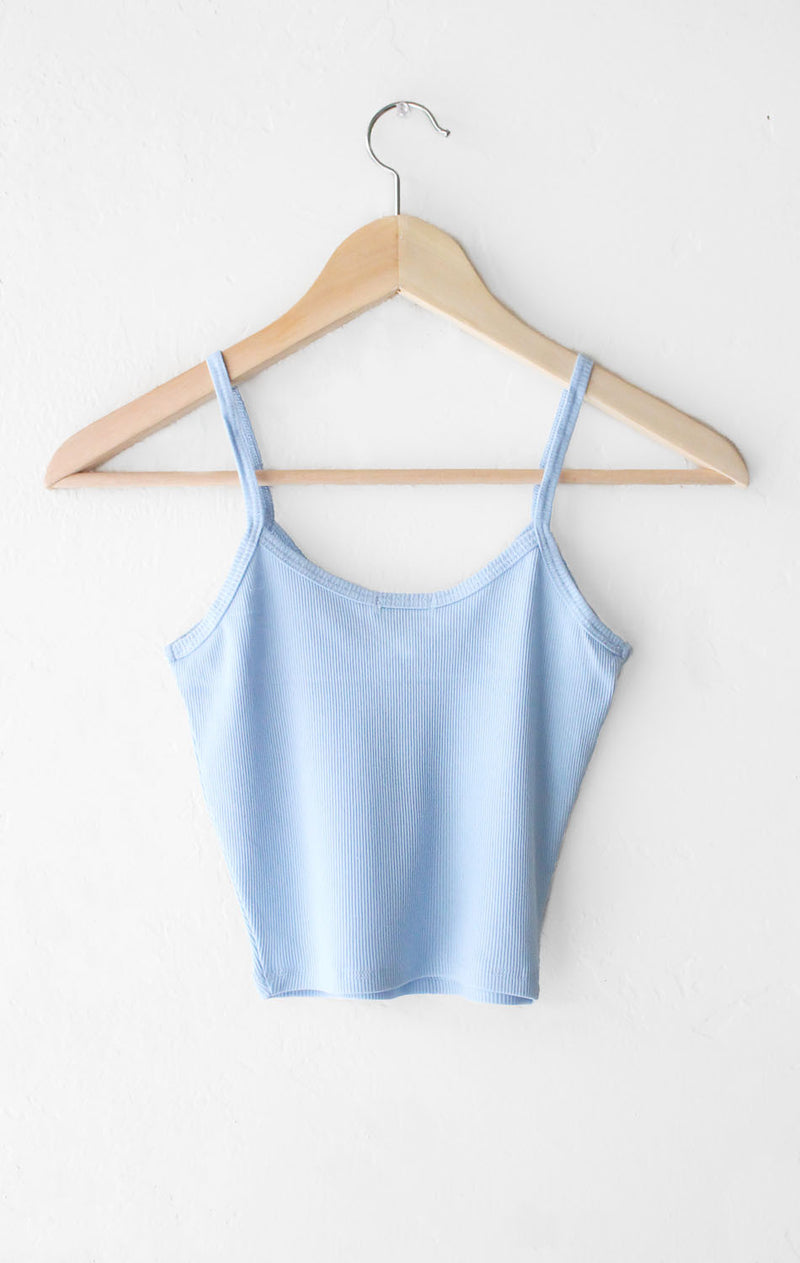 NYCT Clothing Knit V-neck Cami Crop Top - Dusty Blue
