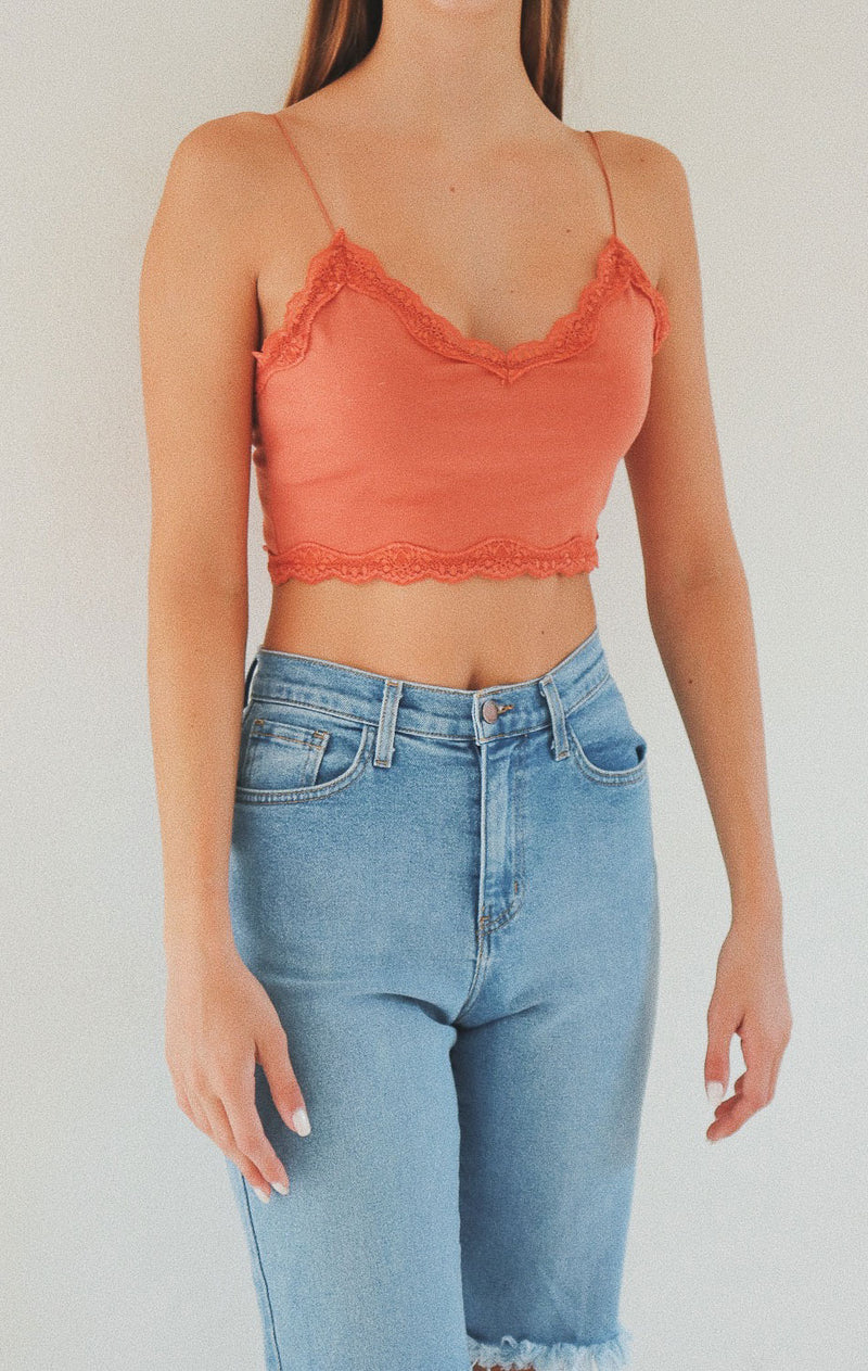 NYCT Clothing Lace Trim V-neck Crop Cami