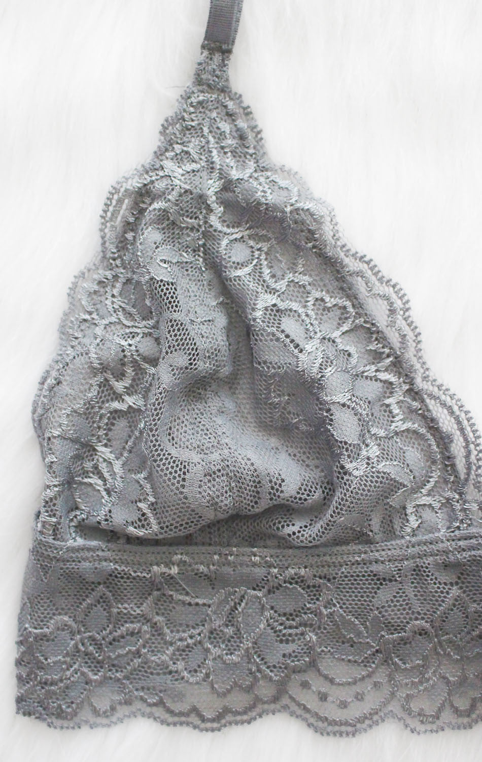 NYCT Clothing Lace Bralette - Light Grey