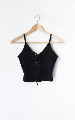 9175a9696d213d Lace Up Knit Crop Tank Top - Black – NYCT CLOTHING