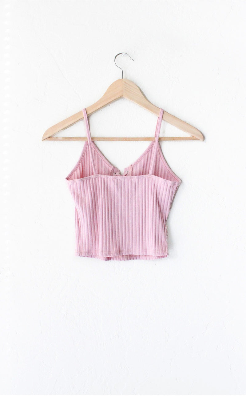 Lace Up Knit Crop Tank Top - Pink