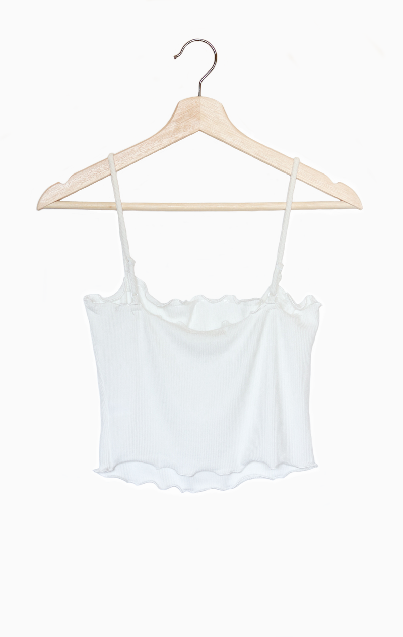 NYCT Clothing Lettuce Edge Cami - White
