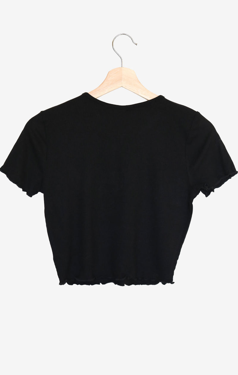 NYCT Clothing Lettuce Edge Crop Top - Black