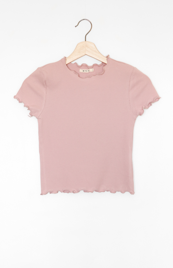 NYCT Clothing Lettuce Edge Crop Top - Mauve