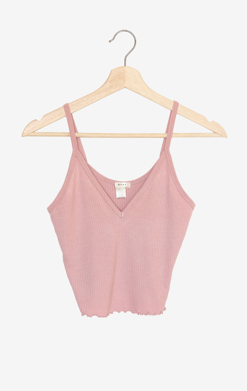 NYCT Clothing Lettuce Edge V-neck Cami - Dusty Rose