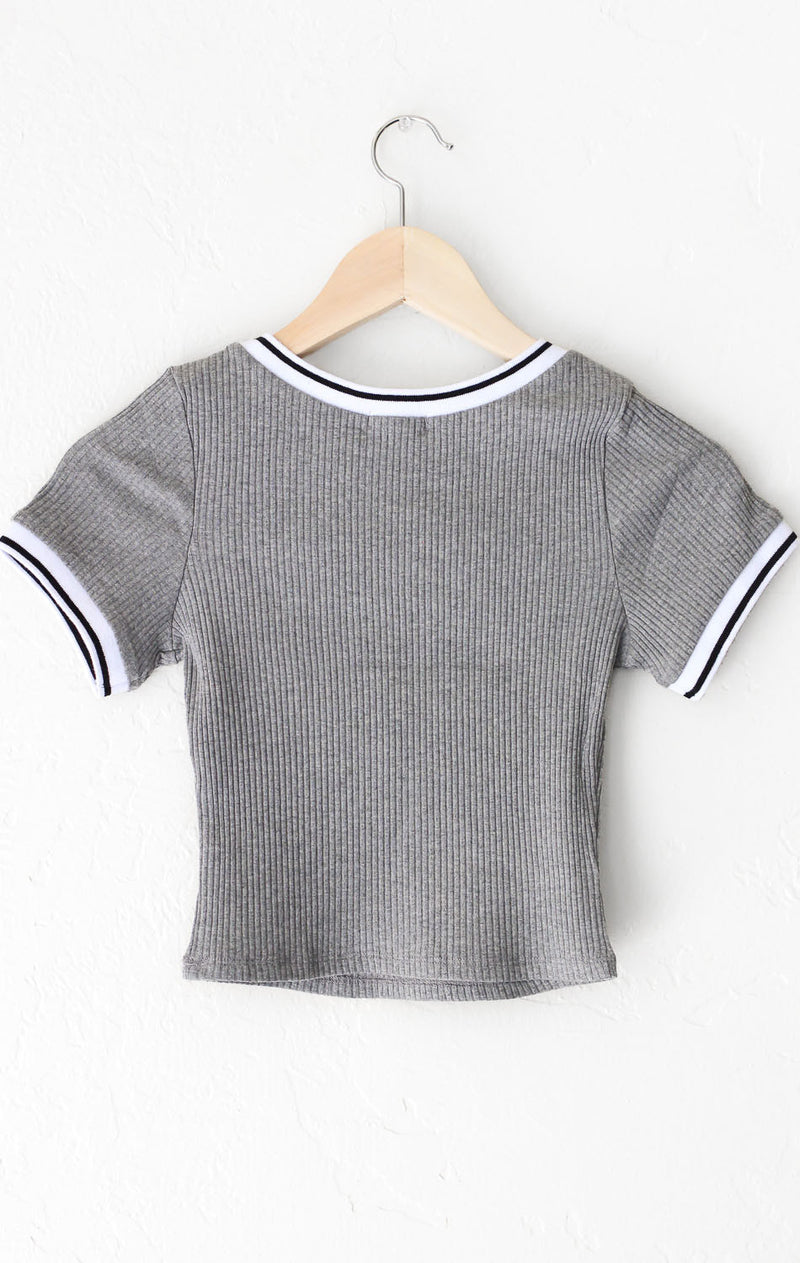 NYCT Clothing Contrast Trim Crop Top
