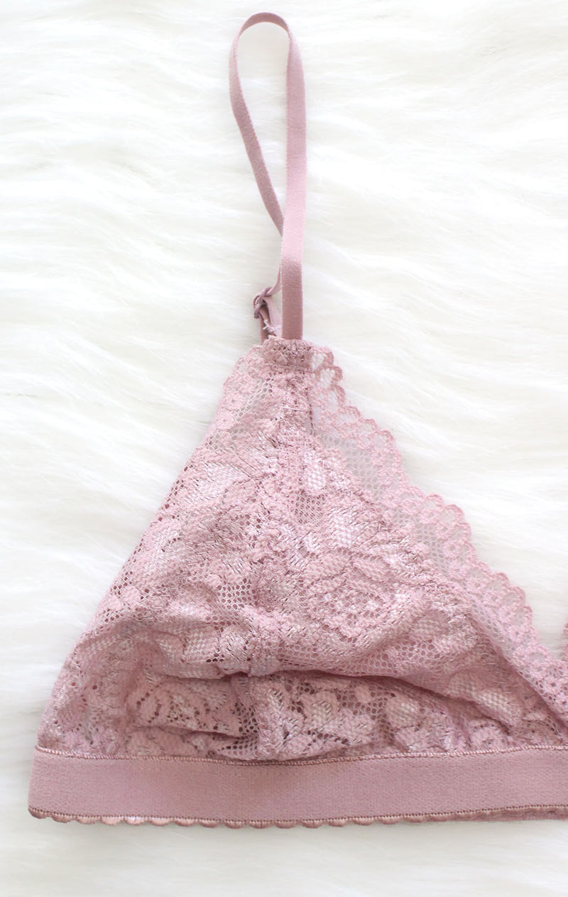 NYCT Clothing Lace Triangle Bralette - Mauve