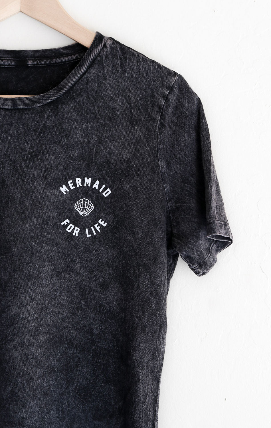 NYCT Clothing Mermaid For Life Relaxed Tee - Acid Wash Black