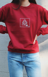 NYCT Clothing NYCT Pine Tree Graphic Sweatshirt - Dark Red