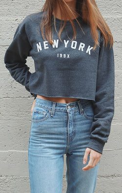 New York 199x Cropped Oversized Sweater - Dark Heather Grey
