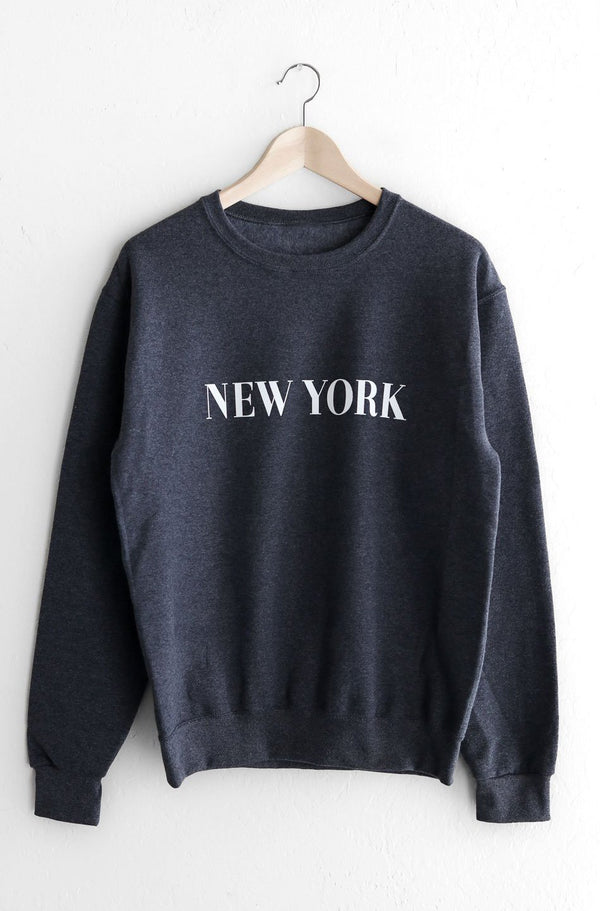 NYCT Clothing New York Oversized Sweatshirt - Dark Heather Grey