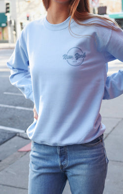 NYCT Clothing New York USA Sweatshirt - Light Blue