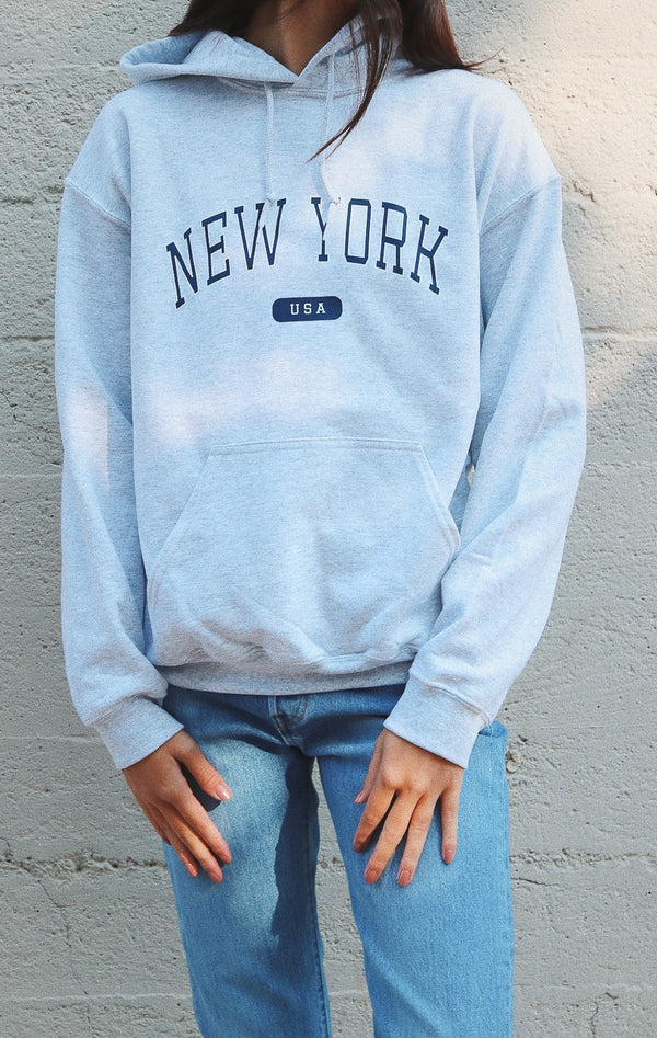 NYCT Clothing New York USA Hoodie - Ash Grey
