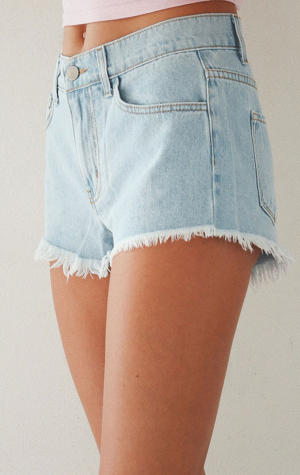 NYCT Clothing High Rise Denim Shorts - Light Wash