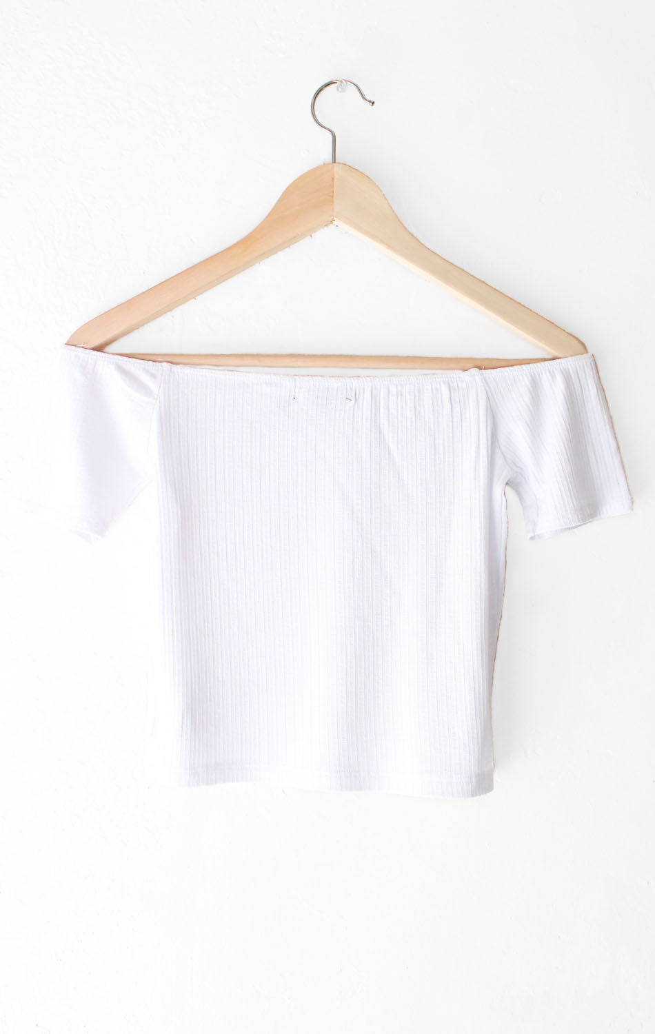 NYCT Clothing Off The Shoulder Crop Top - White