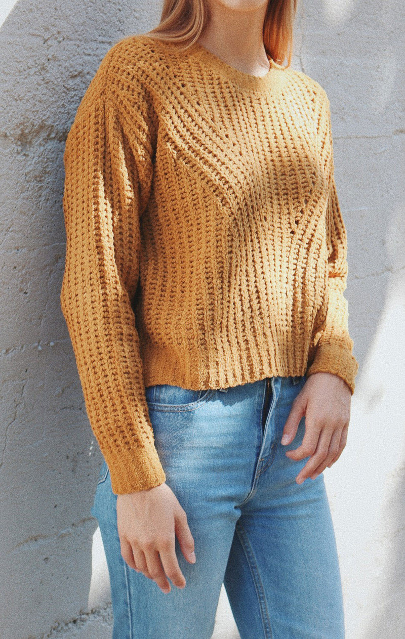 NYCT Clothing Ribbed Open Knit Sweater