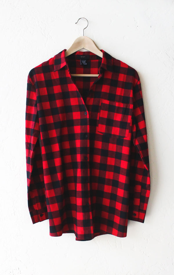 Go away oversized plaid flannel shirt nyct clothing for Oversized red plaid shirt
