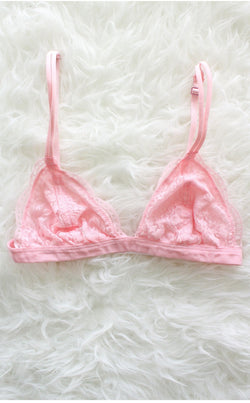 9b4a6fb99a Lace Triangle Bralette - Pale Pink – NYCT CLOTHING