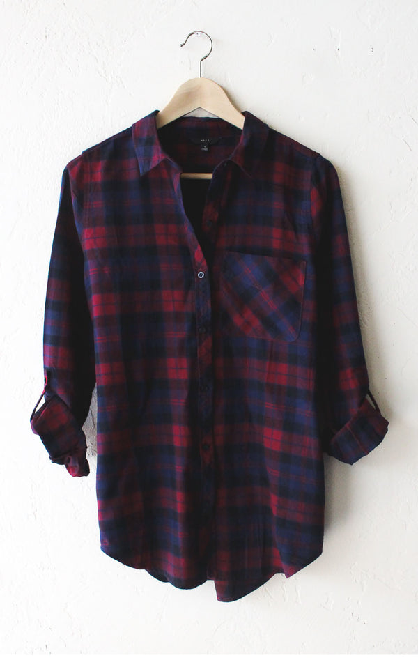 oversized plaid flannel shirt burgundy nyct clothing