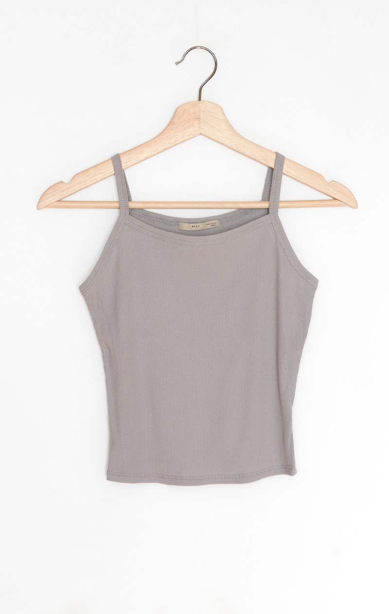 NYCT Clothing Ribbed Crop Cami - Dusty Blue