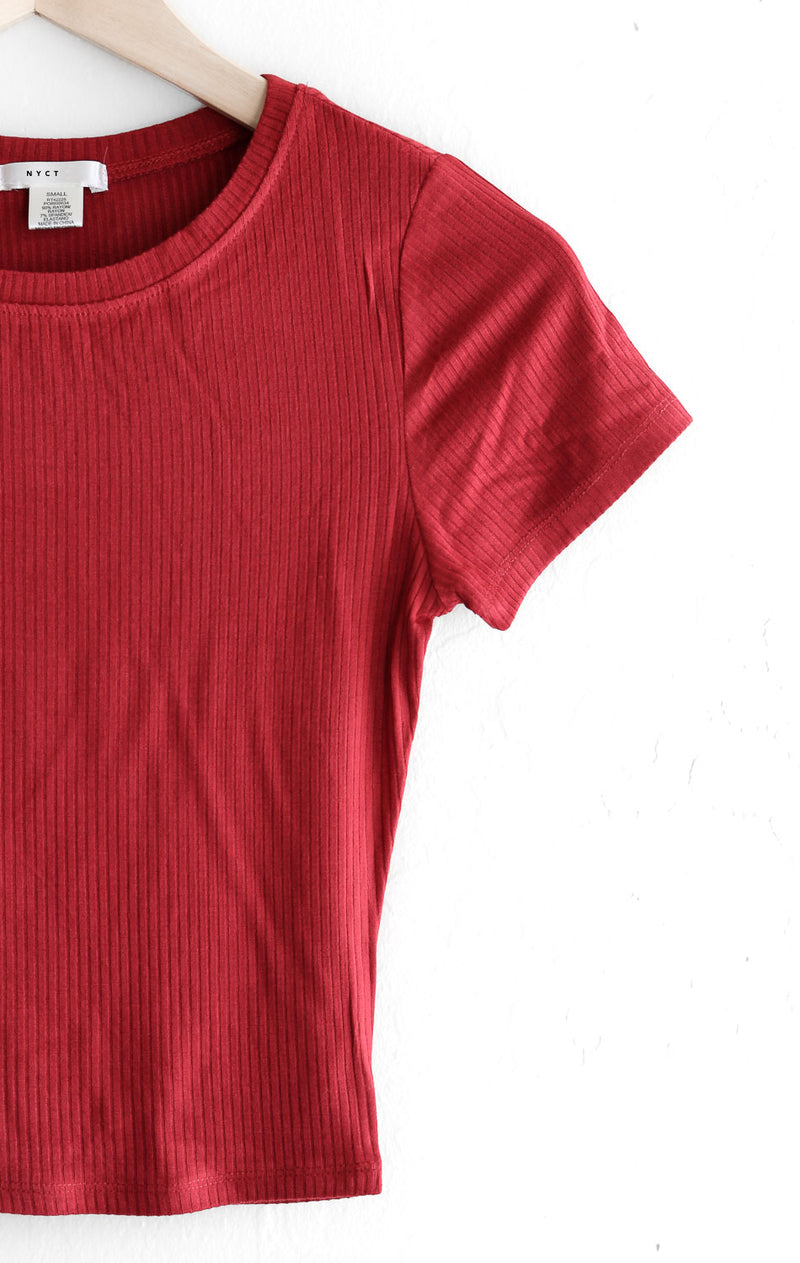 NYCT Clothing Ribbed Knit Crop Top - Red