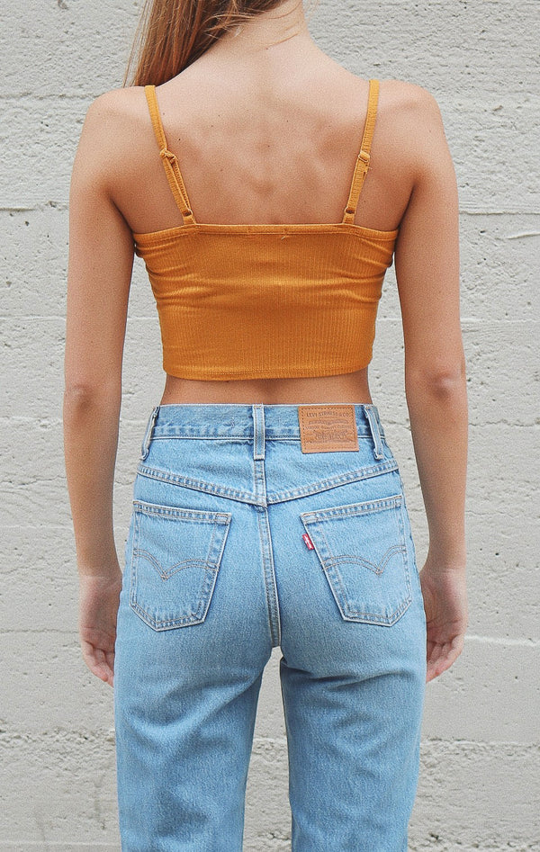 NYCT Clothing Ribbed Knit Cami Crop Top - Dark Mustard