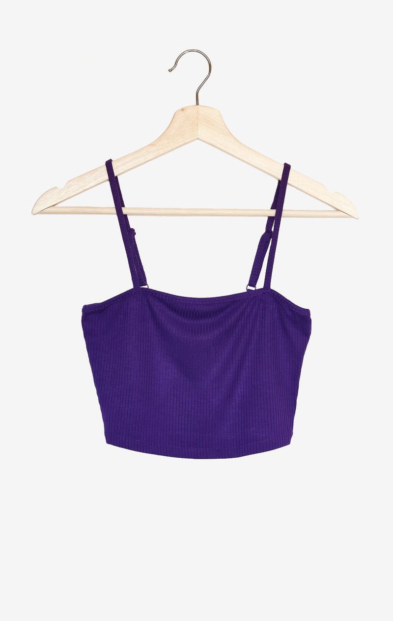 NYCT Clothing Ribbed Knit Cami Crop Top - Purple
