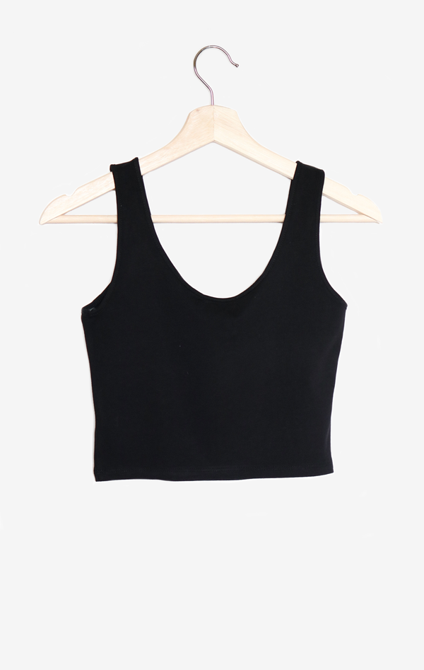 NYCT Clothing Ribbed Knit Crop Top - Black