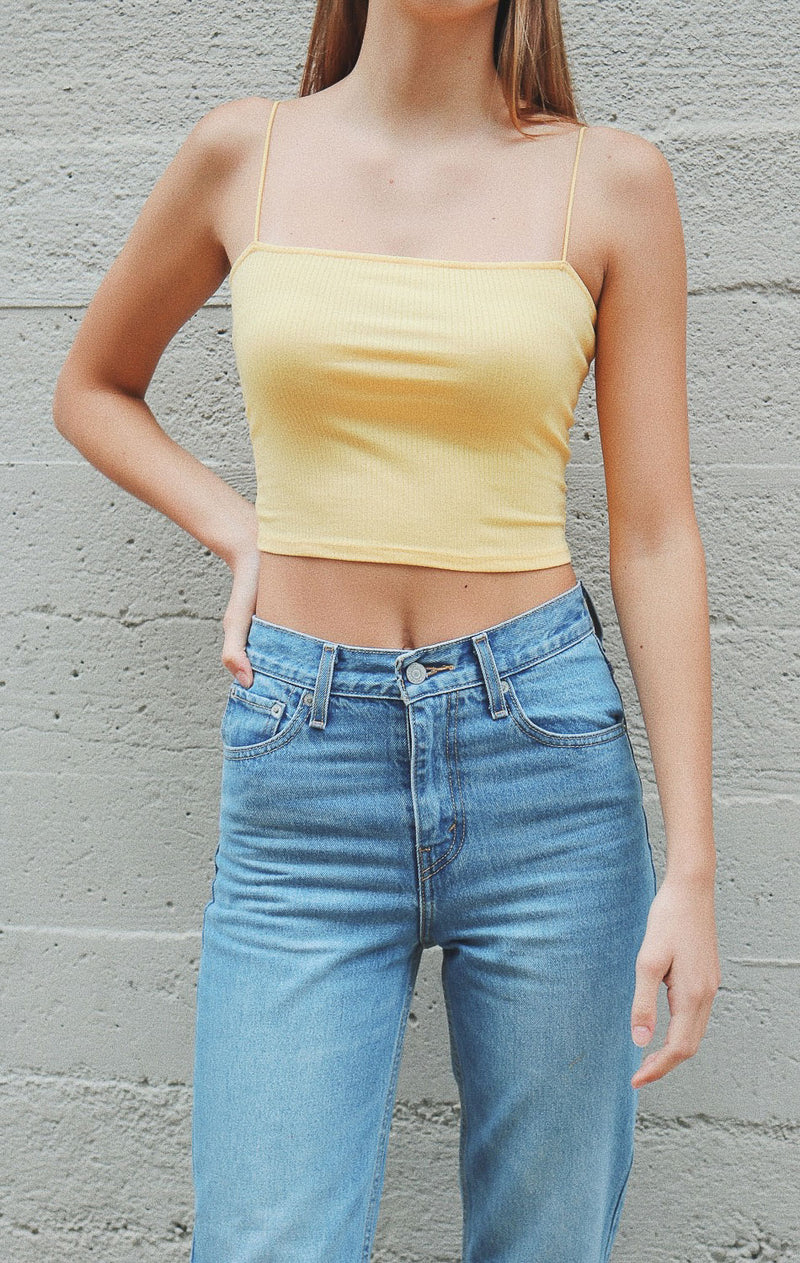 NYCT Clothing Ribbed Cropped Cami - Yellow