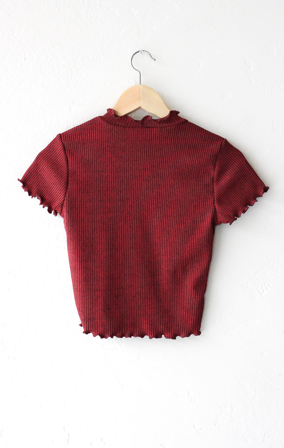 Ribbed Crop Top - Burgundy