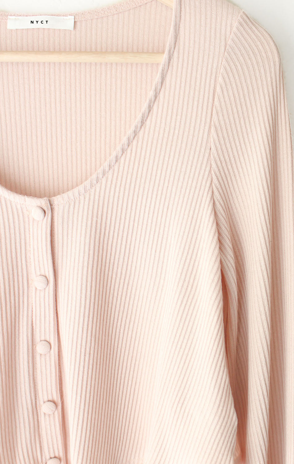 NYCT Clothing Ribbed Knit Crop Sweater - Pink