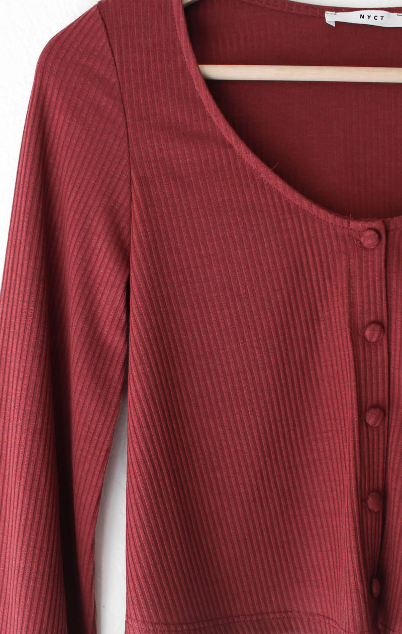 NYCT Clothing Ribbed Knit Crop Sweater - Burgundy